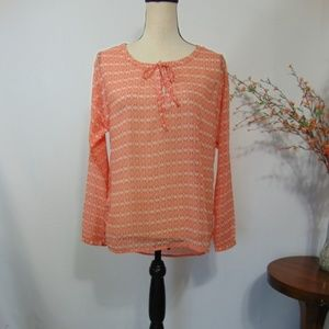 Old Navy Popover Top Semi Sheer Keyhole Blouse